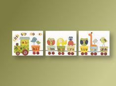Il sagit dun ensemble de tirages sur papier photo mat qui devra être encadrée. Éléphant pépinière art hibou pépinière mur art girafe pépinière décor alphabet train pépinière art mural art salle de jeux - Set de 3 tirages  Consultez ma boutique : http://www.etsy.com/shop/GalerieAnais  Un ensemble de trois impressions qui est une reproduction de loeuvre à la main. Peut être personnalisé en ajoutant le nom de lenfant. Le filigrane napparaît pas sur limpression réelle. Signé et daté au dos.