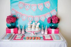 A pink and aqua spa-themed party - #kidsparty #partyidea