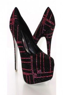 Black and pink alba shoes from amiclubwear