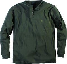 Tee-shirt manches longues grande taille 100 % coton Coloris Army Col rond ras du cou avec trois boutons Tissu agréable sur la peau