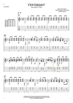 Yesterday sheet music by Paul McCartney. From album Help! Part: Notes (in transposing) and tablature for guitar. Guitar Notes, Guitar Tabs, Cool Guitar, John Lennon Beatles, The Beatles, Paul Mccartney Guitar, Guitar Chords Beginner, Download Sheet Music, Guitar Scales