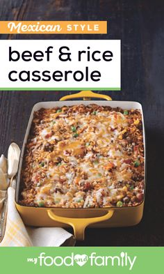 Mexican-Style Beef and Rice Casserole When Youre In Need Of A Trusty Dinnertime Recipe, Check Out This Cheesy Bake Recipe Using Just 8 Simple Ingredients, You Can Serve Up This Healthy Living Dish To Your Family Tonight. Casserole Dishes, Casserole Recipes, Meat Recipes, Mexican Food Recipes, Chicken Recipes, Dinner Recipes, Cooking Recipes, Healthy Recipes, Beef Casserole