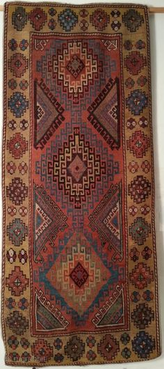 Anatolian carpet from the Konya / Karapinar region, ca.1800 Seize: 120 x 270 cm. Beautyful pink and aubergine color. Both ends reknotted. Shirazi renewed.