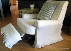 blue roof cabin: Recliner Slipcover Tutorial great idea but without the ruffle Furniture Slipcovers, Slipcovers For Chairs, Upholstered Furniture, Custom Furniture, Ikea Chairs, Furniture Covers, Dining Chairs, Recliner Cover, Recliner Slipcover