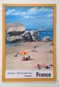 Vintage Travel Poster - Côte de Granit Rose-  Tregastel -  Bretagne - France.