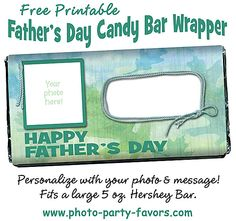 Sweet Father's Day Craft - Add your photo and message to Dad to this DIY free printable candy bar wrapper . More printables and other party stuff at http://www.photo-party-favors.com/ 1st Fathers Day Gifts, Fathers Day Ideas For Husband, Fathers Day Quotes, Fathers Day Crafts, Gifts For Dad, Chocolate Bar Wrappers, Candy Bar Wrappers, Diy For Men, Diy For Kids