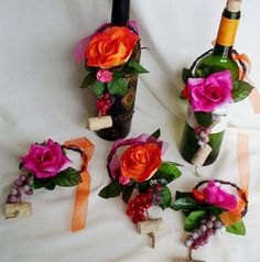 Destination Wedding decorations Wine bottle Toppers by AmoreBride Tropical Wedding Reception, Wedding Reception Decorations, Table Decorations, Orange Centerpieces, Destination Wedding Decor, Bottle Lights, Bridal Shower Favors, Hot Pink, Wine