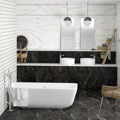 Arcana Ceramica | bathroom | Porcelain tiles | coverings | black and whit bathroom | inspiration Porcelain Tiles, Bathroom Inspiration, Bathtub, House Design, Black, Home, Interiors, Standing Bath, Black People