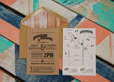 """Retro Map {Letterpress} {Designed & Printed by Little Peach Co.)  Printing: One colour letterpress on K.W. Doggetts Buffalo Board 382gsm and Crane & Co. Lettra 100% Cotton 300gsm. Kraft envelope with custom wood patterned inlay. Bet we all want to be """"totally invited"""" to Kyle and Jacynda's big day!"""