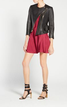 Mila Leather Jacket Herve Leger, Leather Pieces, Smooth Leather, Outerwear Jackets, Skater Skirt, Leather Jacket, Womens Fashion, Zip, Collection