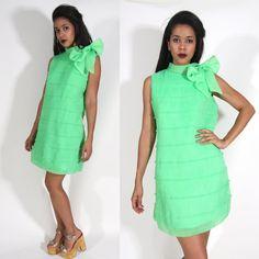 Vintage 60s 70s Lime Green Sheer Crinkle by OldSoulsVintageCo, $48.00