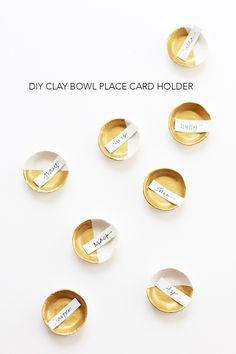 DIY Clay Bowl Place Card Holder using air dry clay. Makes a sweet favor as well.