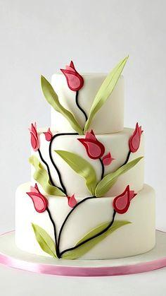 Wedding Cakes Tulip Cake - I found this great wedding vendor on The Knot! Gorgeous Cakes, Pretty Cakes, Cute Cakes, Amazing Cakes, Unique Cakes, Elegant Cakes, Creative Cakes, Bolo Fondant, Fondant Cakes