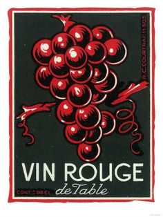 "Vintage Art - ""Vin Rouge de Table"" Wine Label - Europe"