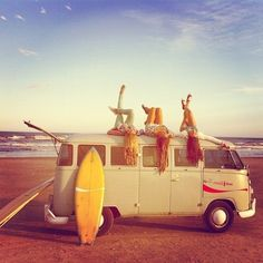 Beach, surfing, blue, sky, girls, car, summer, fun.