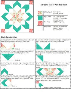 Lone Star of Paradise Instructions Page 1 Big Block Quilts, Star Quilt Blocks, Star Quilt Patterns, Star Quilts, Mini Quilts, Pattern Blocks, Quilting Tutorials, Quilting Projects, Quilting Designs