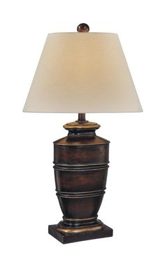 "Ambience 18007 1 Light 29"" Height Table Lamp with Cream Shade Brown With Gold Lamps Table Lamps"