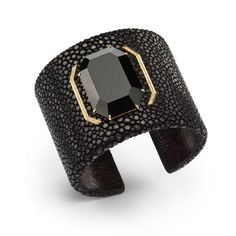 Ivanka Trump Collection - Cuff Bracelet in Black Galuchat with Black Onyx, Yellow Gold & Diamonds