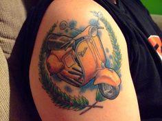 vespa tattoo #VespaLove Rasta Tattoo, I Tattoo, Tenerife, Love Tattoos, Tatoos, Skinhead Tattoos, Classic Vespa, Vespa Gts, Wonder Woman Logo