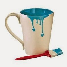 "Dripping Paint Mug and ""paint brush"" spoon ~ good gift for artists :) I just hope they won't drink paint water by mistake LOL Pottery Painting Designs, Pottery Designs, Mug Designs, Pottery Ideas, Drip Painting, Ceramic Painting, Painted Mugs, Painted Pottery, Meme Design"