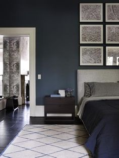 A masculine bedroom is a place where a lifestyle emerges. We've have picked some amazing masculine bedroom design ideas for you. Blue Bedroom Decor, Decoration Bedroom, Bedroom Paint Colors, Home Bedroom, Indigo Bedroom, Master Bedroom, Dulux Paint Colours Blue, Wall Colors, Bedroom Furniture