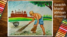Hellow friends this is a pastel color painting of Swachh bharat abhiyan with gandhiji .this painting is with two subject combination of gandhiji and swachh b. Poster Drawing, Clean India Posters, Art Competition Ideas, Book Cover Illustration, Drawing Competition, Drawing For Kids, Creative Drawing, Art Competitions, Earth Drawings