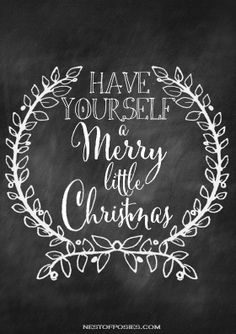 Have yourself a Merry Little Christmas! #chalkboard #wreath