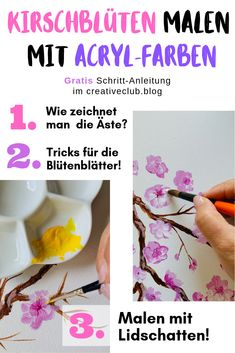 Cool step-by-step guide on how to paint cherry blossoms with acrylics. Man 2, Orange You Glad, Digital Painting Tutorials, World Of Color, Mellow Yellow, Acrylic Colors, Woman Painting, The Conjuring, Blogger Themes