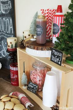 Ideas for a cute Rustic Hot Chocolate Bar. I want to throw a Christmas party and have a hot chocolate bar. Pinning this for ideas!