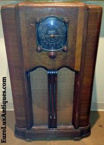 One of our antique finds: 1937 Art Deco Zenith Radio. We plan to repurpose it as a nightstand.  EuroLuxAntiques.com
