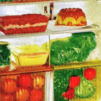 There are a lot of 'inside the fridge' pictures in vintage magazines and I think they are fascinating.  This is only part of the image, whole image on my blog.