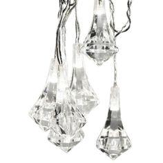 Ljusslinga Prisma med 20 vita LED-lampor med prismaformade akryldekorationer. Längd: 2,85 meter. Anslutningssladd 3 meter. Før inom- och uto...