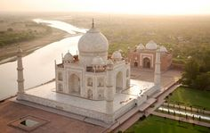 The Taj Mahal, with the Yamuna river snaking away towards its source in the Himalayas