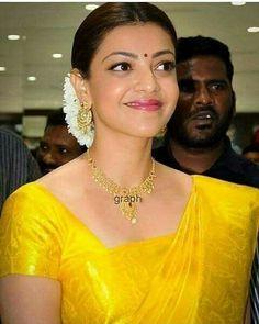Beautiful Indian Actress, Beautiful Actresses, Hot Actresses, Indian Actresses, Kajal Agarwal Saree, South Actress, Saree Dress, Half Saree, Custom Dresses