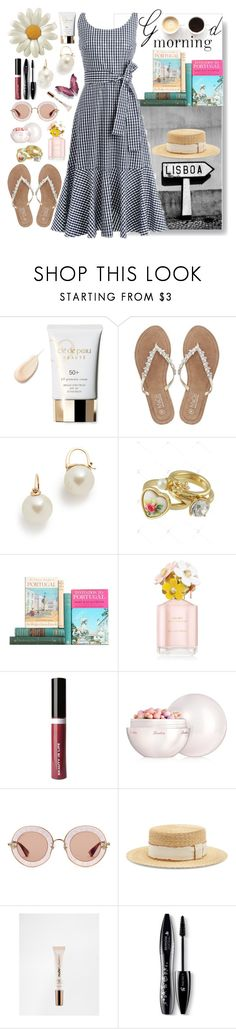 """""""Good Morning, Lisboa"""" by carlagoiata ❤ liked on Polyvore featuring Clé de Peau Beauté, M&Co, LULUS, Kate Spade, Marc Jacobs, Beauty Is Life, Guerlain, Gucci, Filù Hats and Nude by Nature"""