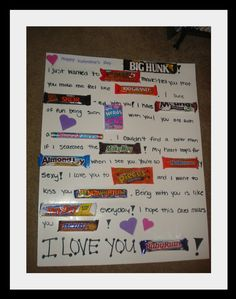 Candy Bar Valentine's Card I did this for Ron on our first Valentine together. He prob forgot.