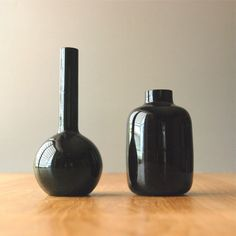 Pair of Vintage Black Amethyst Glass Bud Vases