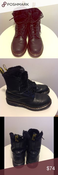 Doc Martens Wmn's Faux Fur Lined Combat Boots Sz 9 Dr. Martens Women's Serena Faux Fur Lined Combat Boots Black Sz 9   Great pre-owned condition.  Core Collection, faux fur-lined,  made from Cartagena leather; molded rubber sole and a branded black & yellow boot pull. Dr. Martens Shoes Combat & Moto Boots