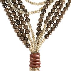 BRUNELLO CUCINELLI - BROWN AGATE AND QUARTZ MULTI-STRAND NECKLACE Long brown agate and brown quartz beaded multi-strand necklace with toggle closure. Made in Italy.