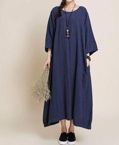 dark blue maxi dress/ large size Oversize dress by MaLieb on Etsy