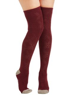 Stir Up Your Stride Socks in Burgundy. Some say it's your riding boots or Mary Jane flats helping you put your best foot forward - we say it's these burgundy over-the-knee socks from Tabbisocks! #red #modcloth