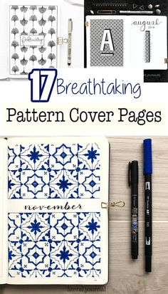 17 Beautiful Pattern Cover Page Ideas for Your Bullet Journal.  These easy to make cover pages are simple yet beautiful.  Personalizes your journal pages with colors using your favorite supplies, but these ideas will get you started with journaling. Bullet Journal Cover Page, Bullet Journal Hacks, Journal Covers, Bullet Journals, Chevron Patterns, Doodle Patterns, Zentangle Patterns, Wreck This Journal, Blog Planner