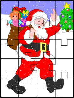SANTA PUZZLE PRINTABLE * Billie Holiday, Mothers Day Crafts, Crafts For Kids, Christmas Printables, Christmas Crafts, Five Senses Gift, Marvin, Holidays Around The World, Gifts For My Boyfriend