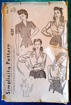 """Vintage 1942 set of blouses sewing pattern - Simplicity 4139 - size 14 (32"""" bust, 26.5"""" waist, 35"""" hip) - 1940s"""
