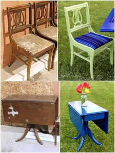 use exterior paint and outdoor fabric to make indoor furniture into patio furniture. good idea for sunroom. Before and after Painted deck furniture