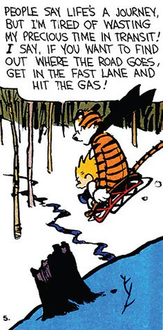 Calvin and Hobbes - I say, if you want to find out where the road goes, get in the fast lane and hit the gas!