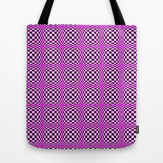 Chequered Pink Tote Bag by Alice Gosling - $22.00ALL Tote Bags are now full bleed, printed both sides and available in 3 sizes #tote #canvasbag #unique #bag #pink #pattern #circles #shapes #illusion