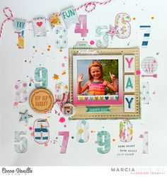 YAY - scrapbook layout created with the Cocoa Vanilla Studios Make A Wish collection, perfect for Birthdays and more.