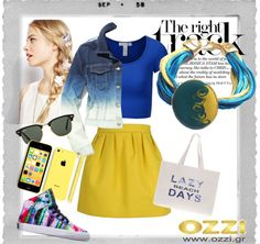 #LookOfTheDay Κίτρινο+Μπλε=Καλοκαίρι ! Ζωντανά χρώματα & διάθεση για ένα πάρτυ που δε θα θέλουμε να τελειώσει ποτέ! Βραχιόλι OZZI  #jewellery #accessories #fashion #summer