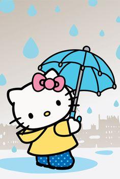 Blue,Cute,Hello kitty,Iphone,Kawaii,Rain - inspiring picture on PicShip.com